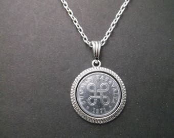 Finland Suomen Tasavalta  Coin Necklace - Finland Coin Pendant in Pendant Tray dated 1971