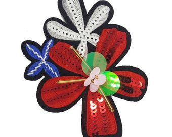 Sewing Flowers Badge Patch with Sequins and Beads, Embroidered Flower Appliques in White, Red or Orange