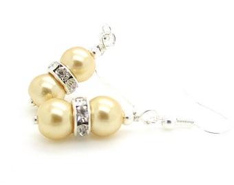Lemon Pearl Earrings, Wedding Jewellery, Bridesmaid Earrings, Lemon Wedding, Bridesmaid Gift, Lemon Wedding, Peal Drop Earrings, Pale Lemon