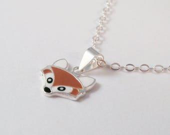 Fox, Sterling Silver Fox Enamel Necklace, Sterling Silver Fox Necklace, Fox Necklace, Forest Necklace, Wood Necklace, Animal Necklace, Tree