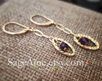 SageAine: Amethyst 14k Gold Earrings, February Birthstone, Archangel Raphael,Reiki Charged, Crystal Healing, Crown Chakra, Gift for her