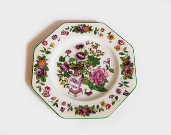 Art Deco Wedgwood  Plate - Floral Cabinet Display Plate - Garden Flowers - British Porcelain - English Ceramic - Pink Purple Flowers