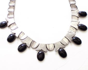 Taxco Sterling Obsidian Necklace - Vintage Mexican Silver -  Oval Onyx Cabachon Necklace - Hinged High Fashion Necklace