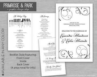 Wedding Program Booklet Printable // Silhouette Wedding Program // Catholic Wedding Program