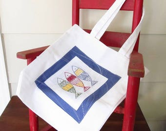 Catch of the Day Fish Embroidery Pattern PLUS Tote Bag Tutorial