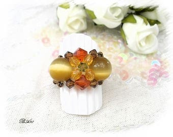 glass and Crystal caramel orange BA98 ring