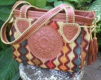 Anni Ikat- Leather-Bags-Handmade Textl -Boho-