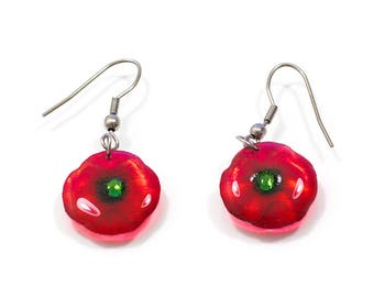 Handmade Poppy small earrings. Come in a gift box