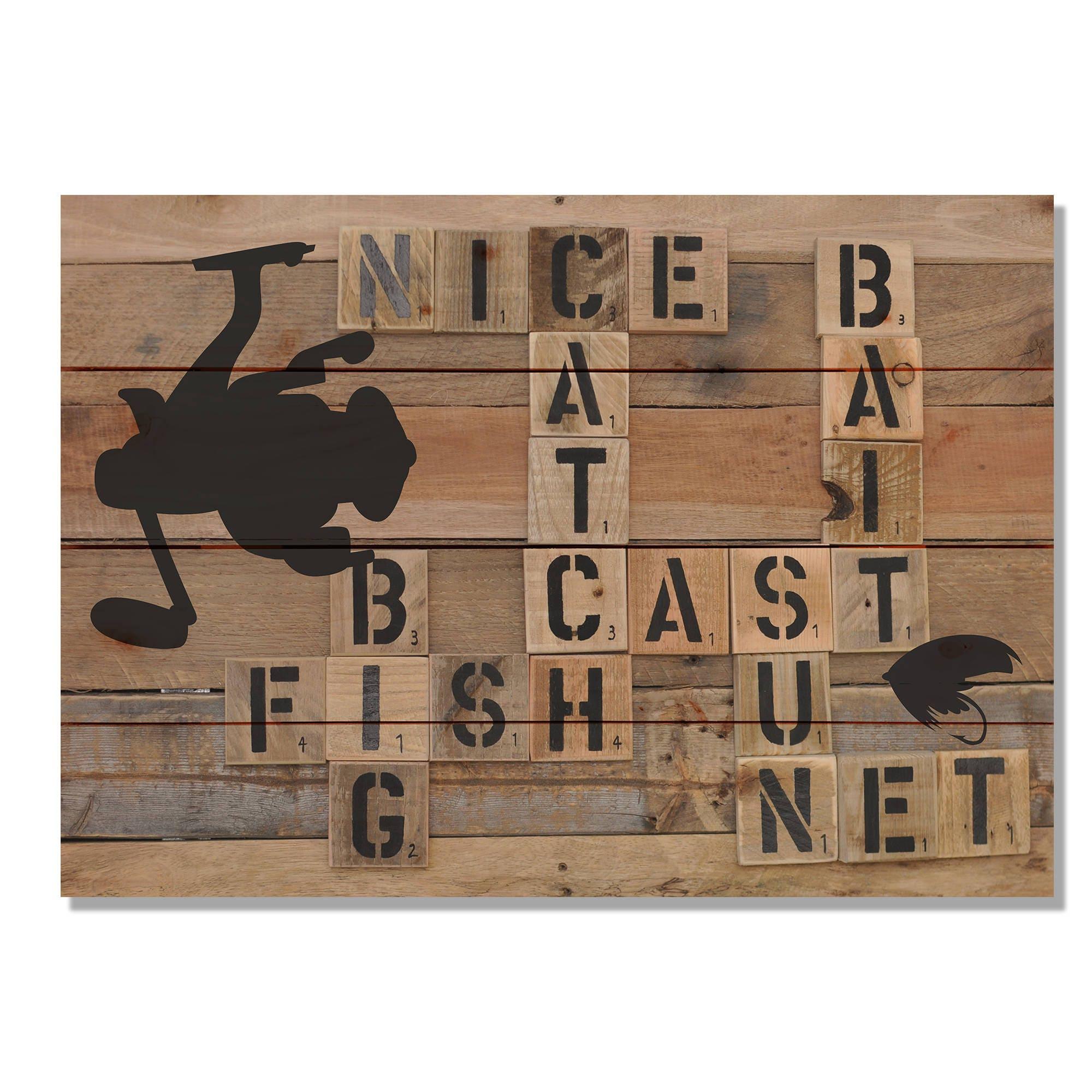 Cast Wood Art : Nice cast wood fishing art cabin wall hanging