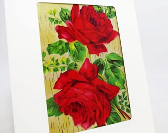 Greeting Card Featuring Edwardian Era Rose Blossoms Perfect for |Happy Birthday | Best Wishes | Thinking of You | Thank You