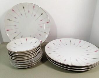 Mid Century Modern dinnerware, Harmony House 3546 Carrousel dinner plates, fruit bowls and saucers 14 piece set