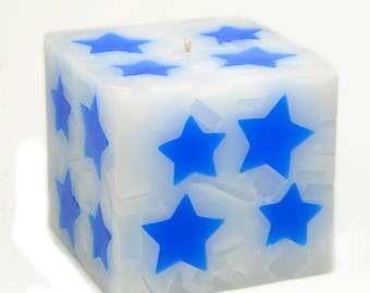 Cosmic Candles Blue Star Square Pillar Unscented 4x4