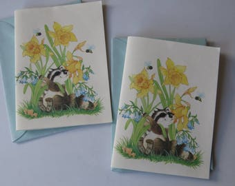 Vintage Montage Stationery Note Cards - Raccoons & Flowers