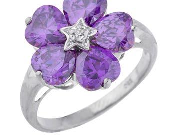 5 Hearts Amethyst & Diamond Heart Flower Design Ring .925 Sterling Silver