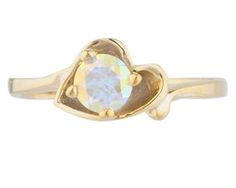 14Kt Yellow Gold Plated Natural Mercury Mist Mystic Topaz Round Heart Shape Ring