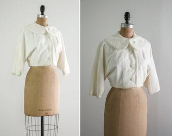 vintage 1950s white faux fur jacket | 50s jacket cropped | white fur crop jacket
