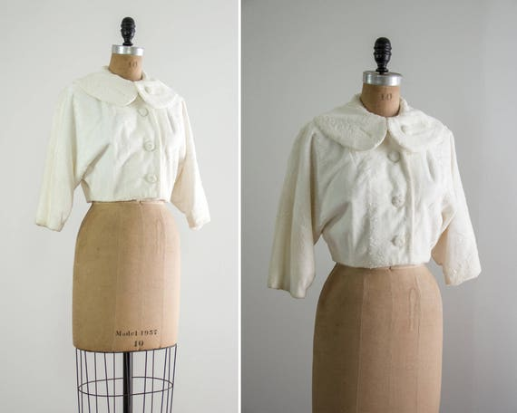 vintage 1950s white faux fur jacket | 50s jacket cropped | white fur crop jacket