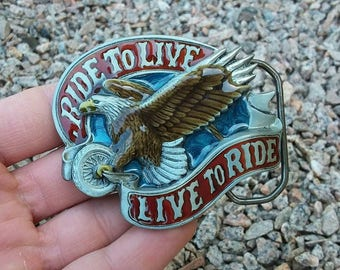 Vintage 1982 live to ride ride to live enamel belt buckle motorcycle eagle
