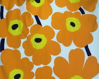 "Vintage Marimekko Fabric * ""Unikko"" 1965 *  * Orange * Scandinavian Design * Maija Isola"