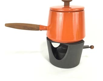 Vintage Copco Fondue Pot and Cast Iron Heat Stand * Michael Lax * Holland * Orange Enamel on Steel