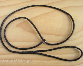 Leather Dog Show Slip Lead Braided with Kangaroo Leather in Black - Lead On Sherry