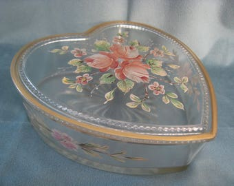 Vintage Victorian Covered Glass Heart Box with Hand Painted Roses 1930s