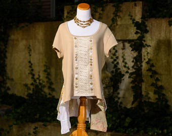 Lagenlook Upcycled Clothing Bohemian Gypsy Altered Couture Lace Top Womens Bustle Eco Shirt Hippie Artsy Neutral Tunic Shabby Chic Size XL