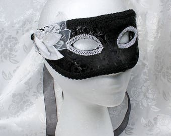 Black Brocade Masquerade Mask, Black Brocade White Trim Paper Mache Masquerade Mask, Black Satin White Half Mask