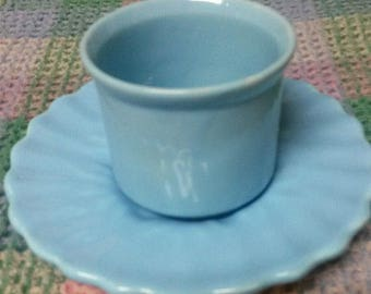 Vintage Light Blue Cup Mug w/No Handle with Scalloped Edge Saucer - VERY CUTE - RARE