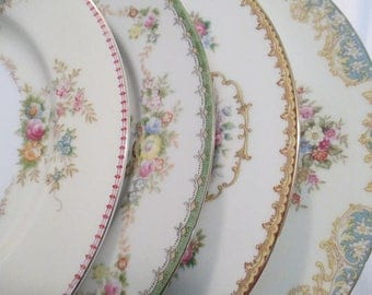 Vintage Mismatched China Dinner Plates, Bridal Luncheon,Wedding, Shabby, Bridal Gift, Dinner Party, Garden Party - Set of 4