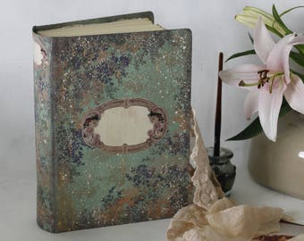 Whimsical woodland wedding guest book | Periwinkle and sage |Floral baby scrapbook, traditional photo album, hand painted journal | 8.5x6''