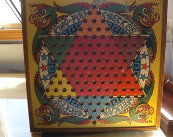Vintage King Foot Checkers American Checker Game Board