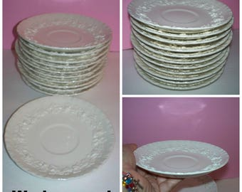 11 piece set of Wedgewood Embossed Queensware Cream on Cream Grapevines Made in England Scalloped 3D Saucer Plate Set Pattern # 3258 set