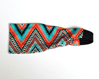 Hippie Headwrap, Boho Headband, Tribal print Headband