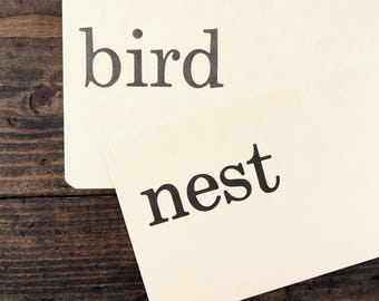 bird nest • vintage flash card pair • Dick and Jane flashcards • Allyn and Bacon word cards