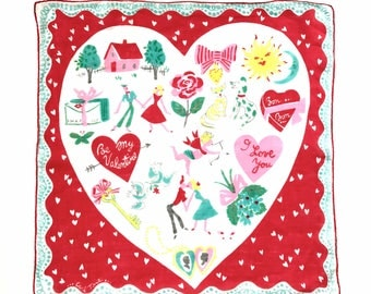 Be My Valentine handkerchief • hanky | hankie • Carl Tait collectible • colorful accessory • 1950's • Valentine's Day