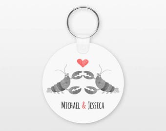 Lobster Keychain, Couple Keychain Personalized Keychain, Boyfriend Keychain Girlfriend Keychain, Couple Key Chain, Animal Keychain, Keyring