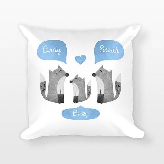 Fox Nursery Pillow, Personalized Baby Gift, Shower Gift, Woodland Nursery Decor, Pillow for Kids Room Decor, Animal Nursery Throw Pillow