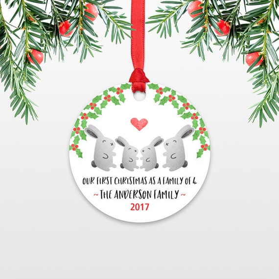 Family Christmas Ornament New Parents Gift First Christmas Ornament Family of 4 Four Rabbit Bunny New Baby Personalized Christmas Ornament