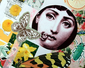 Fornasetti inspired collage - Yellow collage using found images,decor, house interiors,