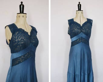 Vintage 1930s Fischer Heavenly lingerie lace and rayon nightgown - 30s lace and silk slip - 30s silk gown - 30s negligee - 30s nightgown