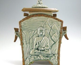Buddha Stoneware Cremation Funerary Memorial Urn (#1)- 200 cubic inch