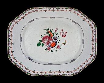 18th Century Chinese Export Famille Rose / Lowestoft Enamel on Porcelain Platter Antique Large