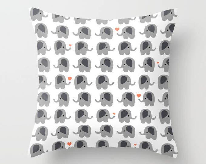 Elephants with Orange Hearts Pillow Cover - Cover Only -  Sofa Pillow - Bed Pillow - Decorative Pillow - Made to Order