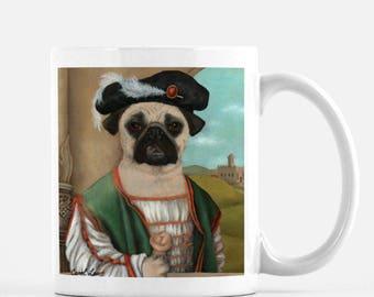 """Pug Mug, Funny Pug Mug, Pug Lover Gift, Pug Gifts, Cute Dog Mugs, """"Guido"""""""