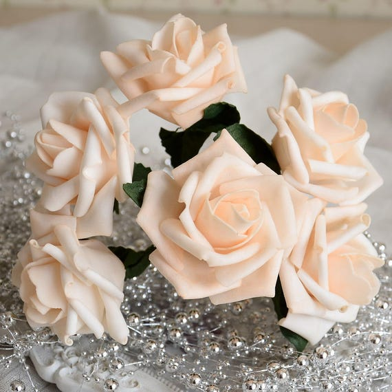 Light Champagne Flowers Roses Artificial Wedding