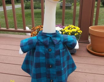 Goose Shirt w. Teal and Navy Blue Squares