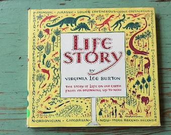 Life Story, Life on Earth, Hardcover, Dust Jacket, Rare Book, Virginia Lee Burton, Great Graphics, 1962, First Edition 3rd Printing, HCDJ
