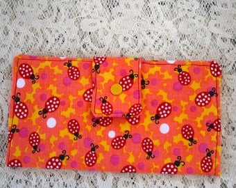 Womens Fold Over Wallet, Lady Bug Print Fabric, Credit Card Holder, Checkbook, Zippered Coin Slot, Gift Idea