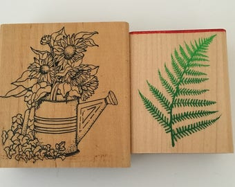 Watering Can and Fern Rubber Stamps